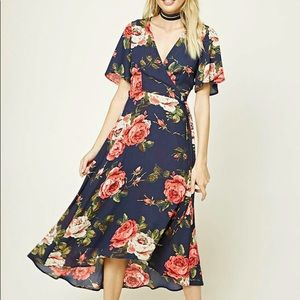 Forever 21 Floral Wrap Maxi Dress Navy size Small